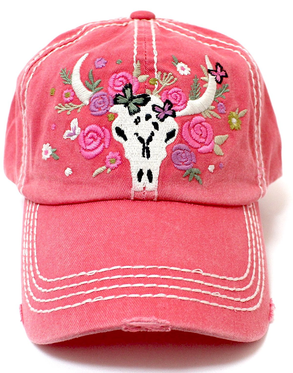 CAPS 'N VINTAGE Rose Pink Women's Floral Cow Skull Embroidery & Rose Detail Hat - Caps 'N Vintage
