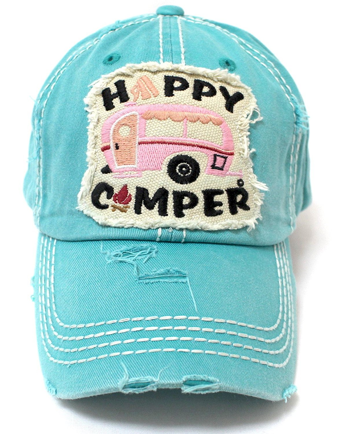 TIFFANY BLUE Happy Camper Camp Fire Patch Embroidery Baseball Hat - Caps 'N Vintage