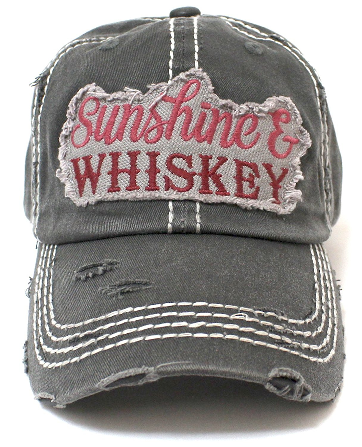 "NEW!! ""Sunshine & Whiskey"" Distressed Vintage Hat - Caps 'N Vintage"