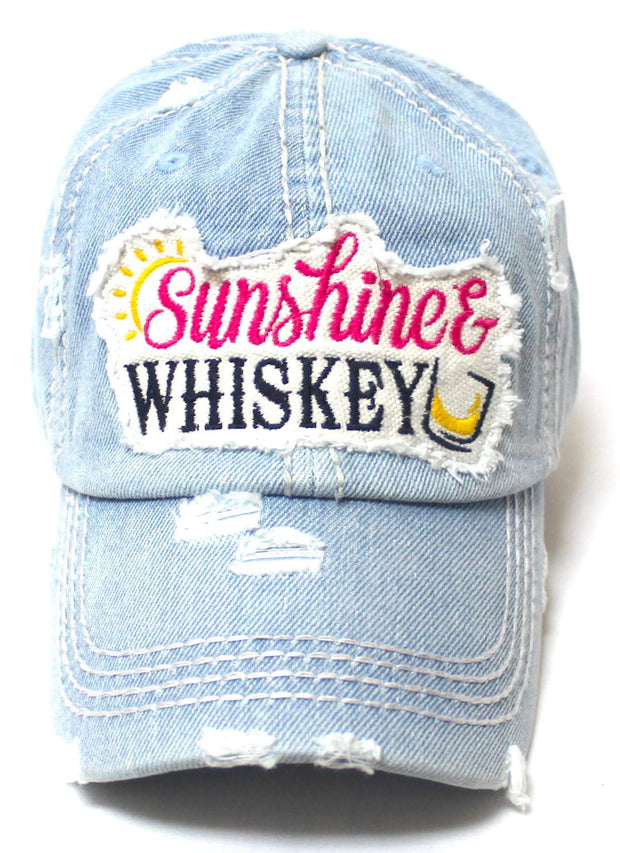 Women's Vintage Beach Hat Sunshine Fun Patch Embroidery Monogram Ballcap, Distressed Denim - Caps 'N Vintage