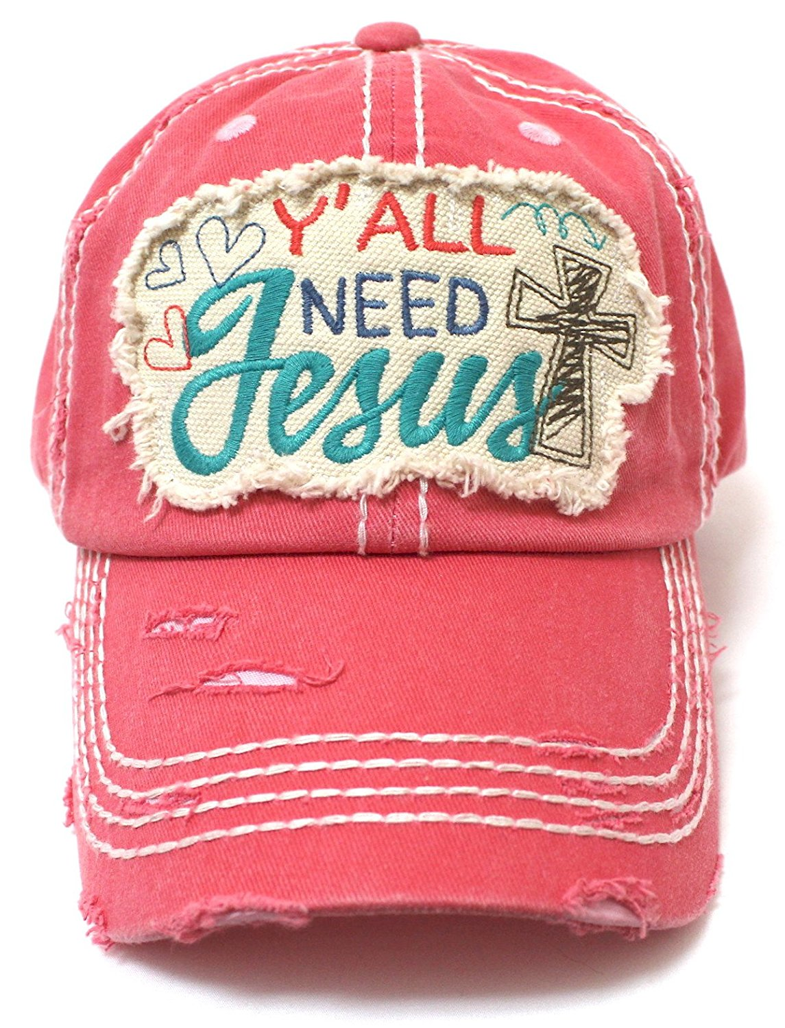 "Hearts, Cross, & ""Y'all Need Jesus"" Patch Embroidery Hat - Caps 'N Vintage"