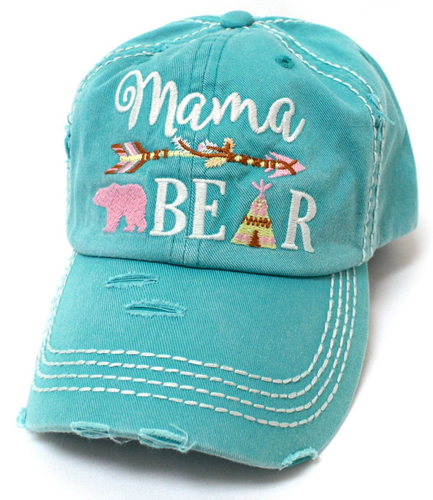 CAPS 'N VINTAGE Women's Turquoise Mama Bear Indian Teepee Themed Baseball Hat - Caps 'N Vintage