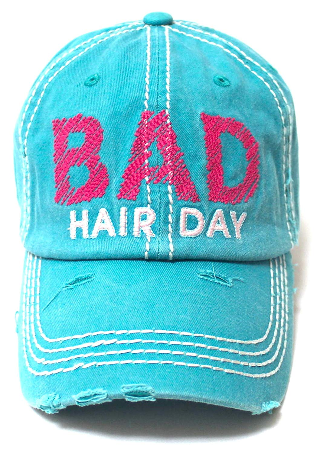 Bad Hair Day Stitch Embroidery Distressed Baseball Hat, Turquoise Blue - Caps 'N Vintage