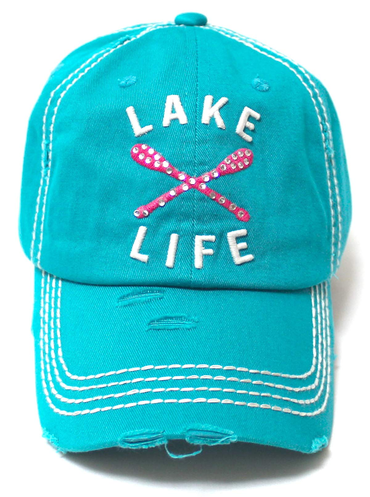 Women's Vintage Beach Cap Lake Life Pink Paddles Monogram Embroidery Hat, Turquoise - Caps 'N Vintage