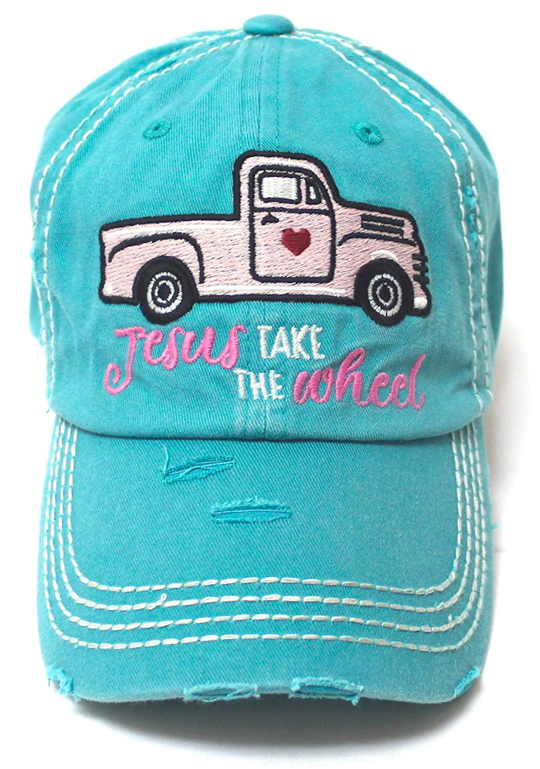 Women's Camping Cap Jesus Take The Wheel Monogram Hippie Truck Hat, Turquoise - Caps 'N Vintage