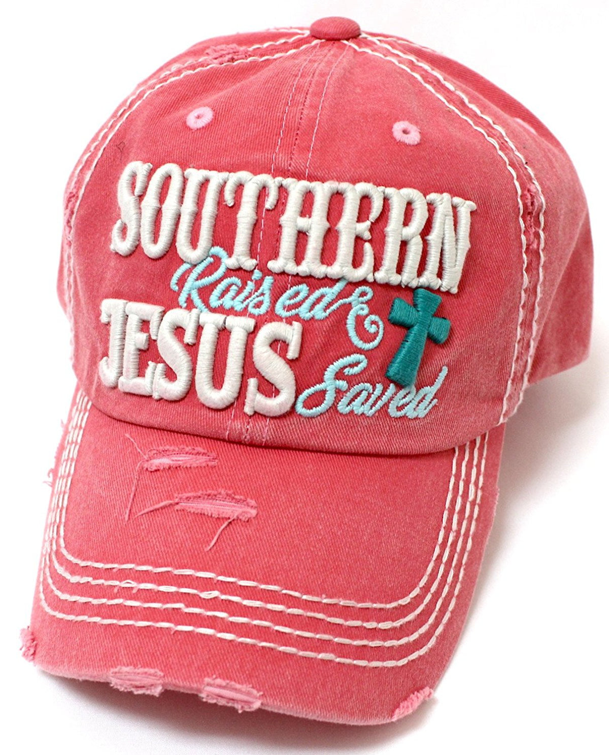 CAPS 'N VINTAGE Women's Southern Raised & Jesus Saved Cross Embroidery Hat - Caps 'N Vintage