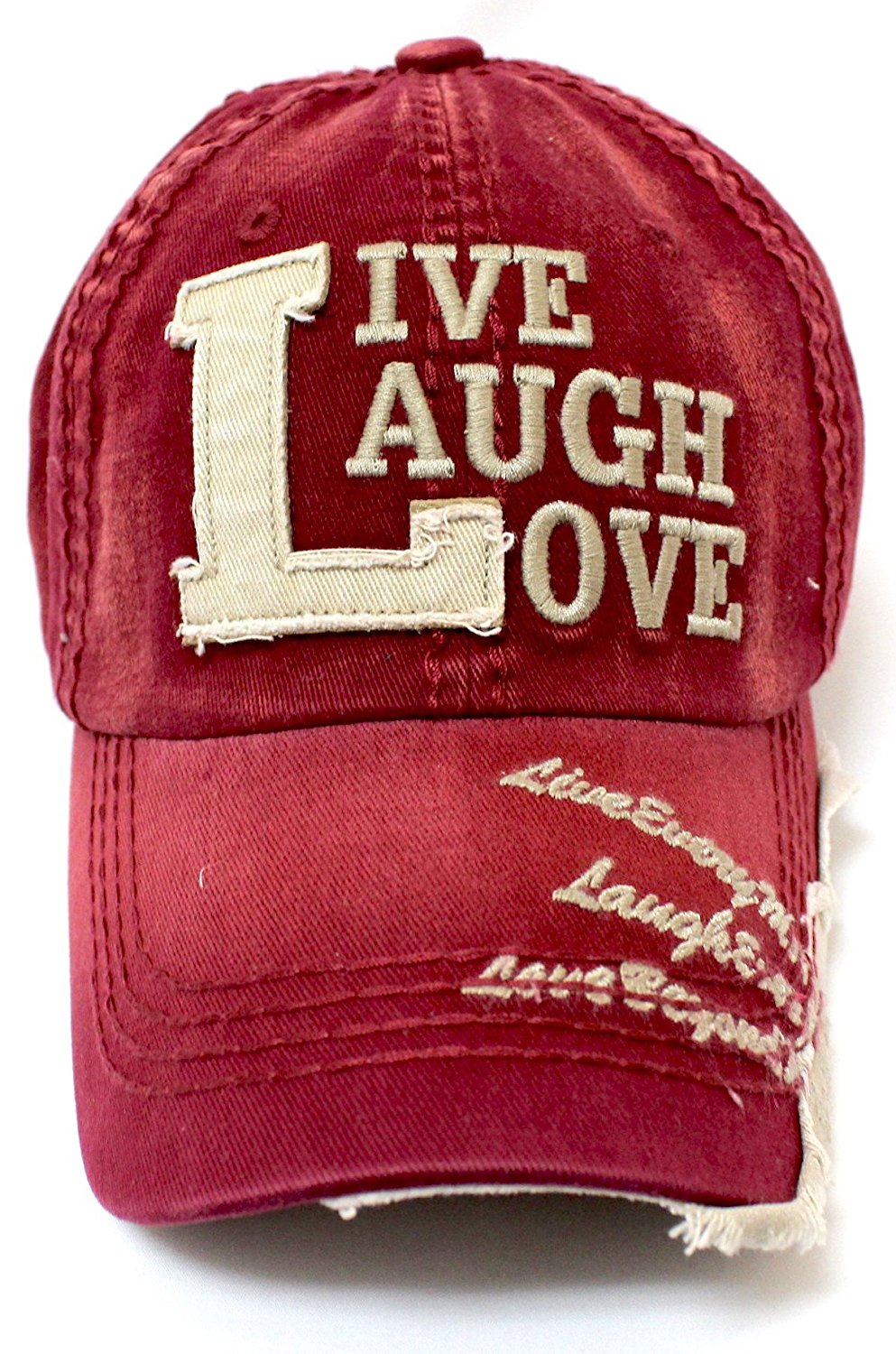 CAPS 'N VINTAGE Wine Red Live, Laugh, Love Distressed Vintage Cap - Caps 'N Vintage