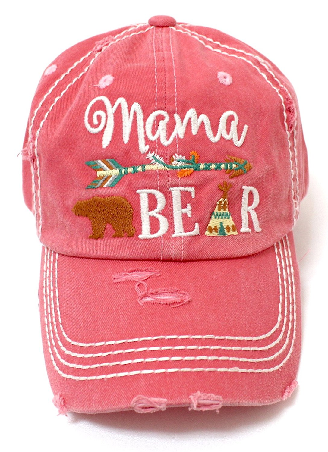 CAPS 'N VINTAGE Mama Bear Indian Teepee Themed Distressed Cap - Caps 'N Vintage