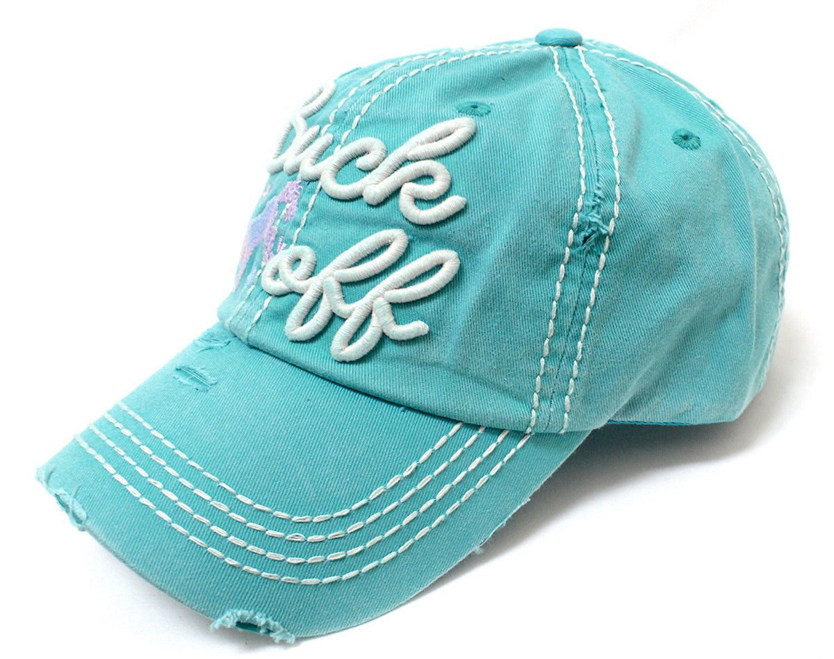 CAPS 'N VINTAGE Turquoise Buck Off Wild Horse Embroidery Baseball Cap - Caps 'N Vintage
