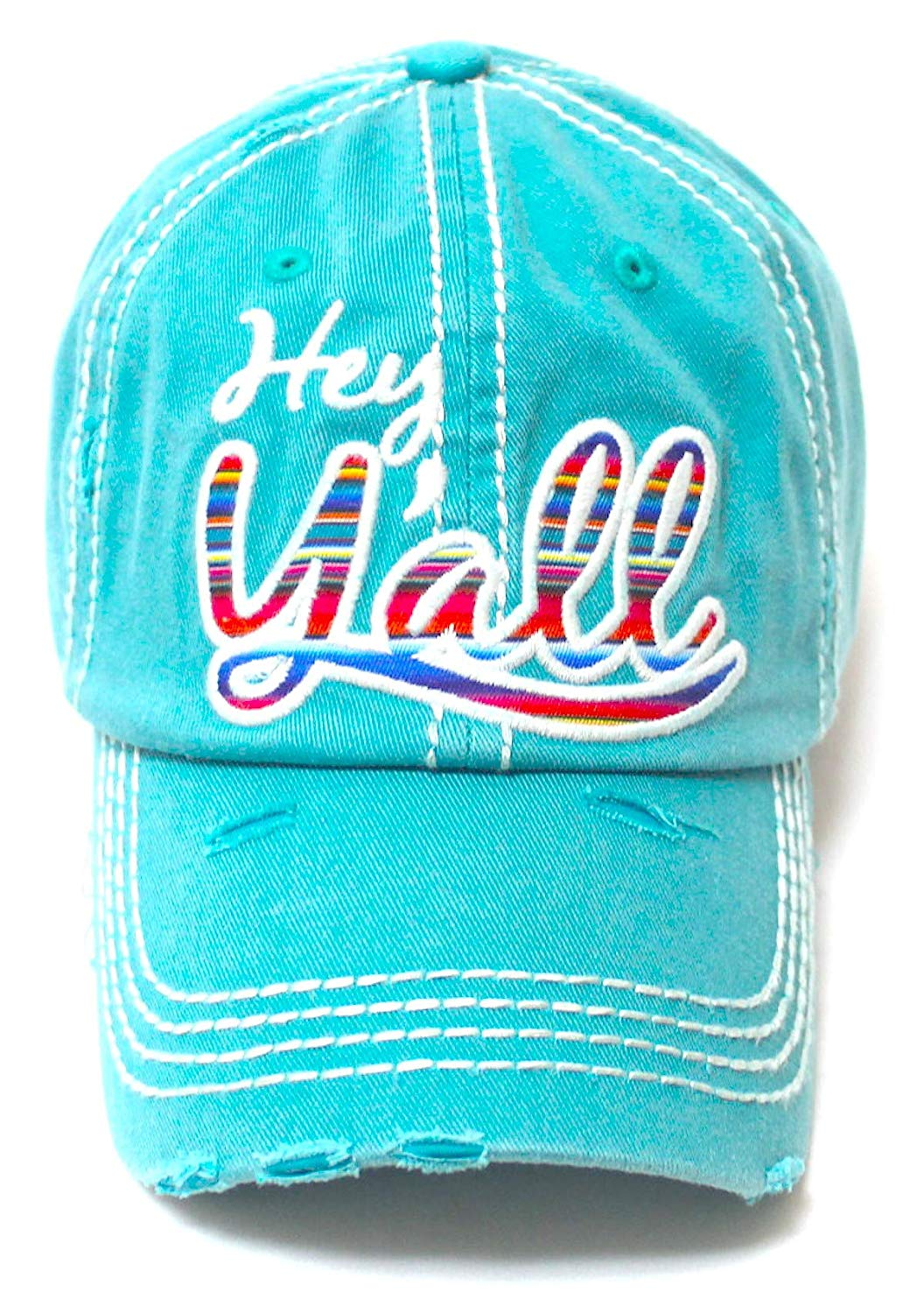 Hey Y'all Serape Monogram Embroidery Adjustable Hat, Vintage Turquoise