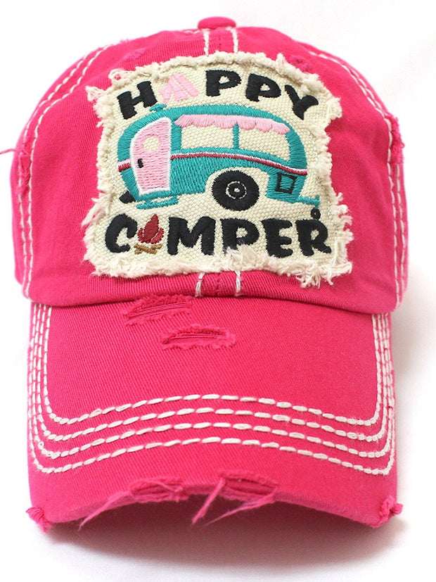 HOT PINK Happy Camper Camp Fire Patch Embroidery Baseball Hat - Caps 'N Vintage