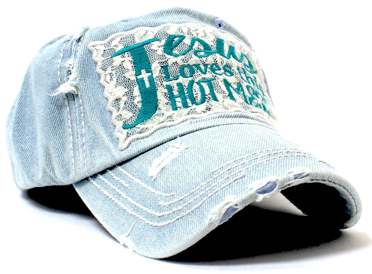 Washed Denim Jesus Loves This Hot Mess Lace Embroidery Cap - Caps 'N Vintage