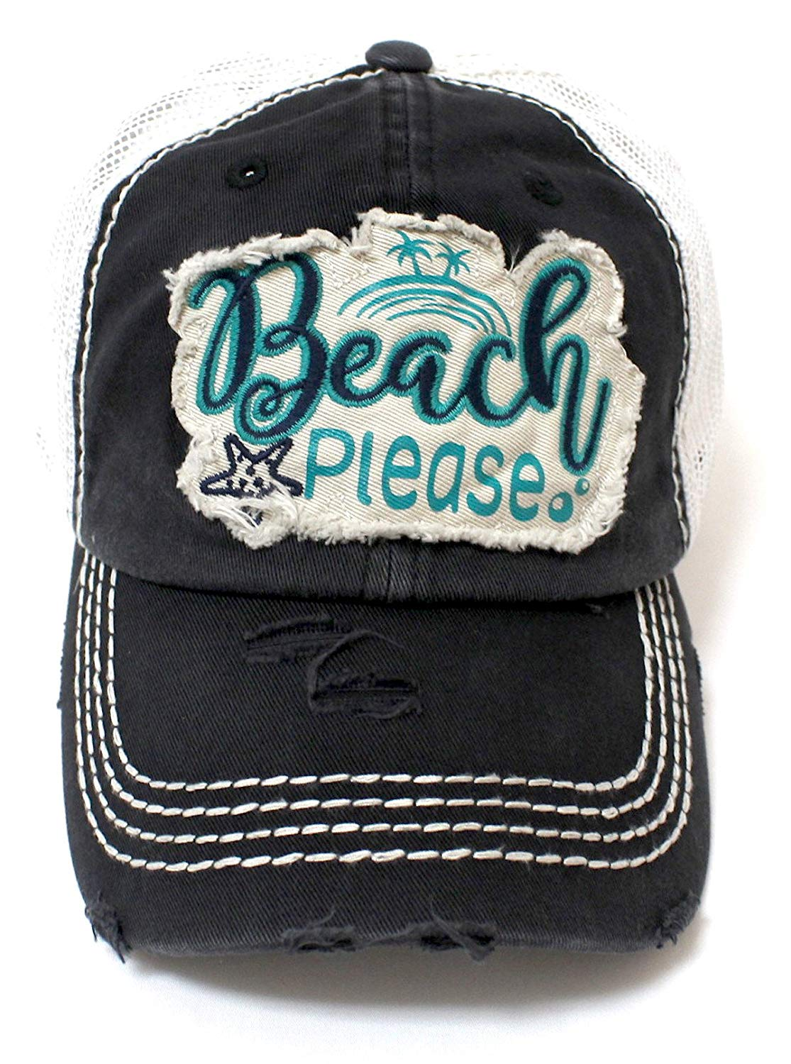 NEW!! Ocean Surf Beach Please Patch Embroidery Meshback Hat - Caps 'N Vintage