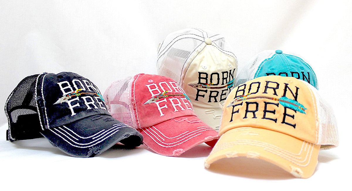 "NEW!! OCEAN SUNSET COLLECTION--Stone ""BORN FREE"" Vintage Trucker Hat - Caps 'N Vintage"