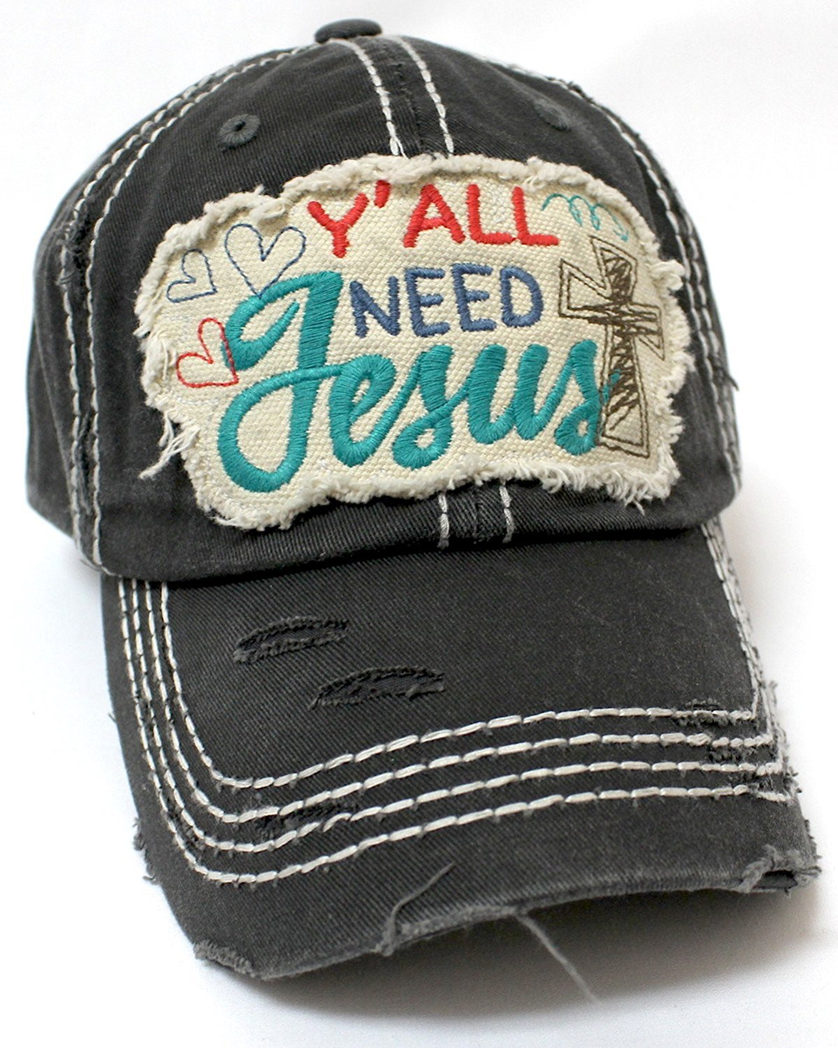 "Hearts, Cross, & ""Y'all Need Jesus"" Patch Embroidery Hat-Black - Caps 'N Vintage"