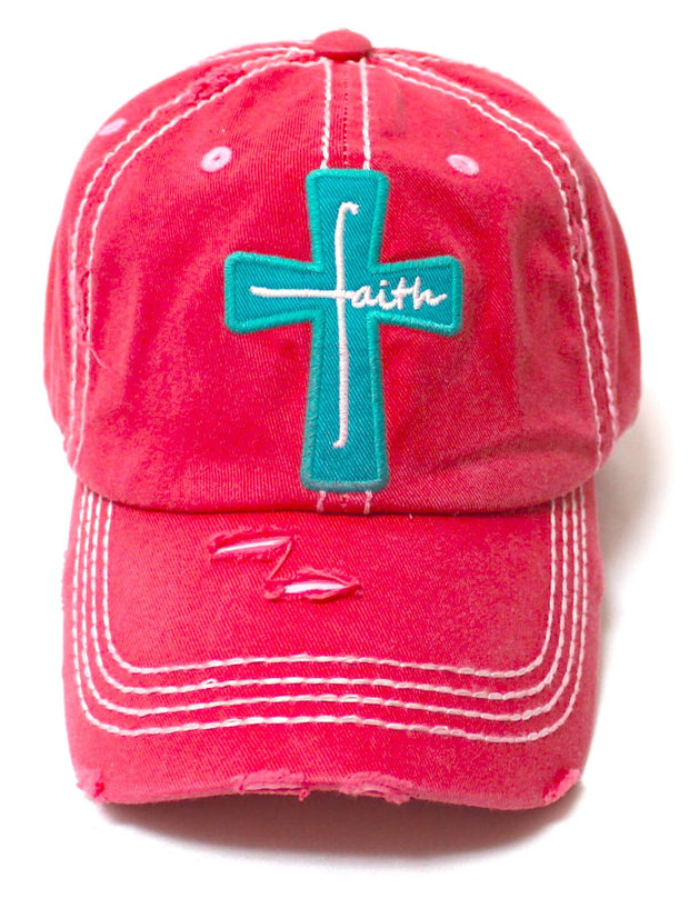 Women's Baseball Cap Faith Monogram Cross Patch Embroidery Monogram Hat, Coral Rose