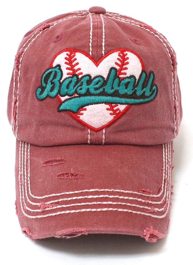 CAPS 'N VINTAGE Vintage RED Baseball Heart Patch Women's Hat - Caps 'N Vintage