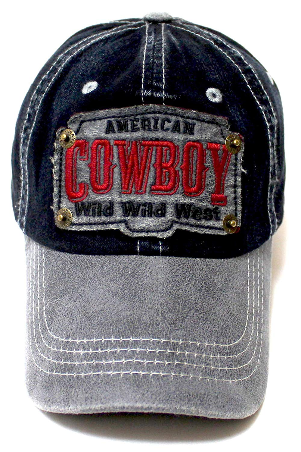 Classic Ballcap American Cowboy Wild Wild West Patch Embroidery Vintage Hat, Graphite Suede - Caps 'N Vintage