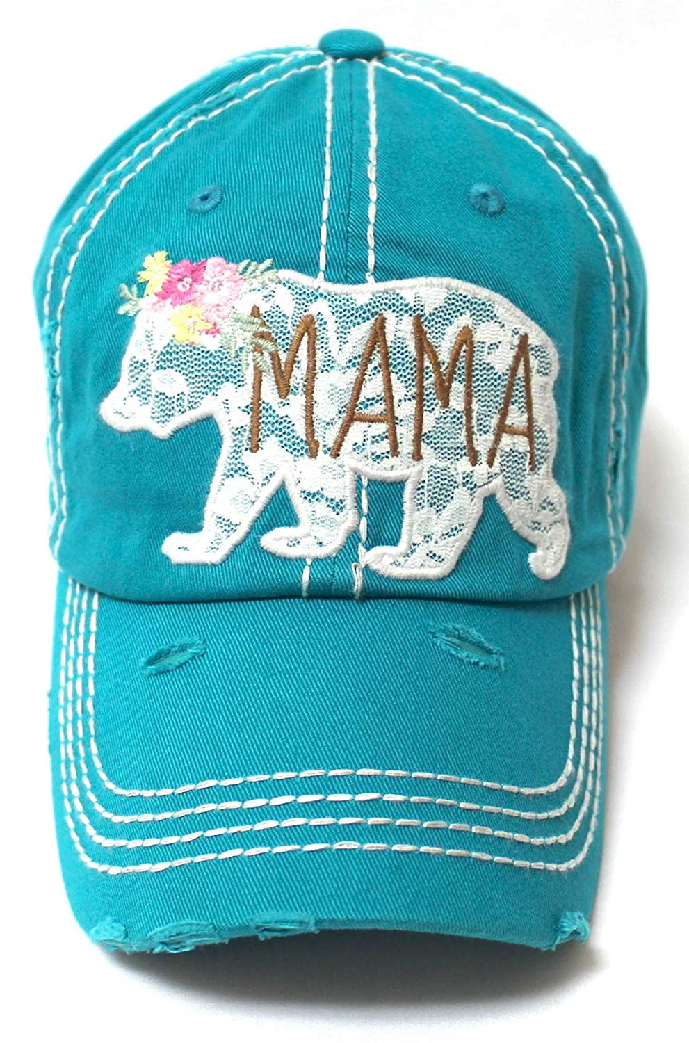 Women's Vintage Mama Graphic Cap, Spring Floral Lace Bear Embroidery, Turquoise - Caps 'N Vintage
