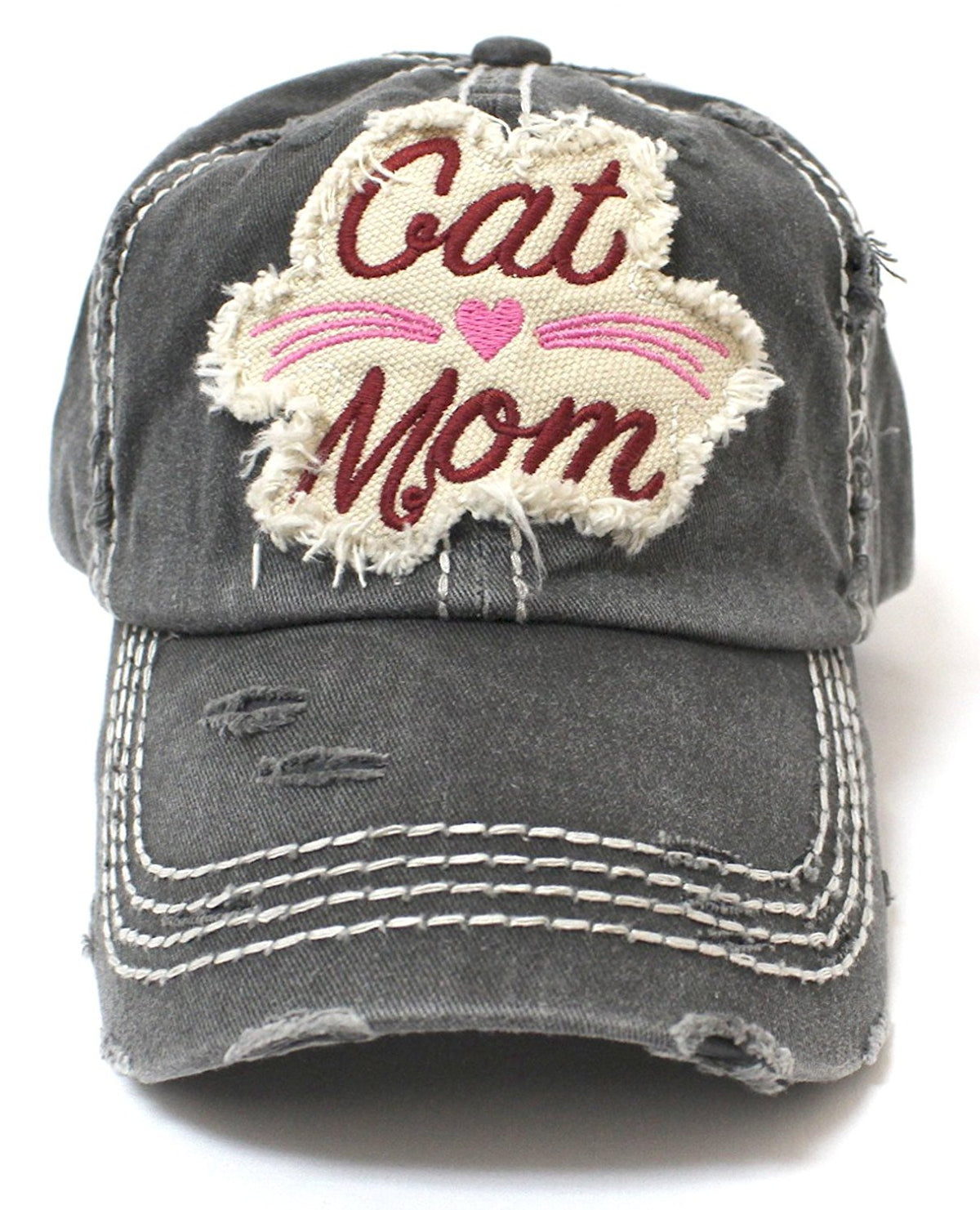 CAPS 'N VINTAGE BLK Cat Mom Heart & Whiskers Patch Embroidery Baseball Hat - Caps 'N Vintage