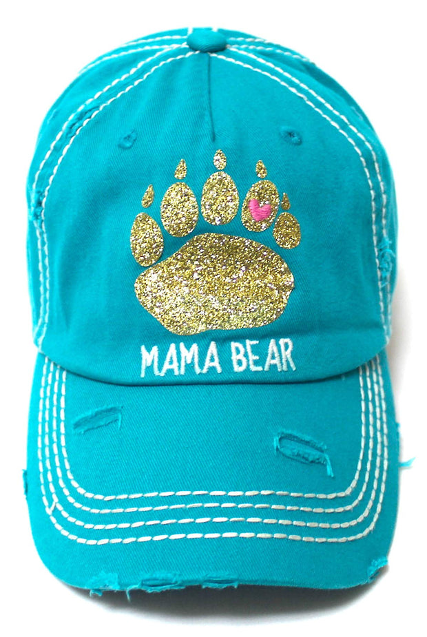 Women's Graphic Ballcap Mama Bear Gold Glitter Paw Print Heart Shape Monogram Hat, Turquoise - Caps 'N Vintage