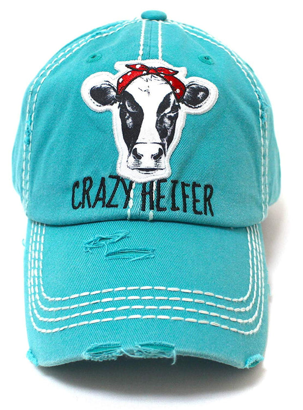 Turquoise Crazy Heifer Cow Patch Embroidery Hat - Caps 'N Vintage