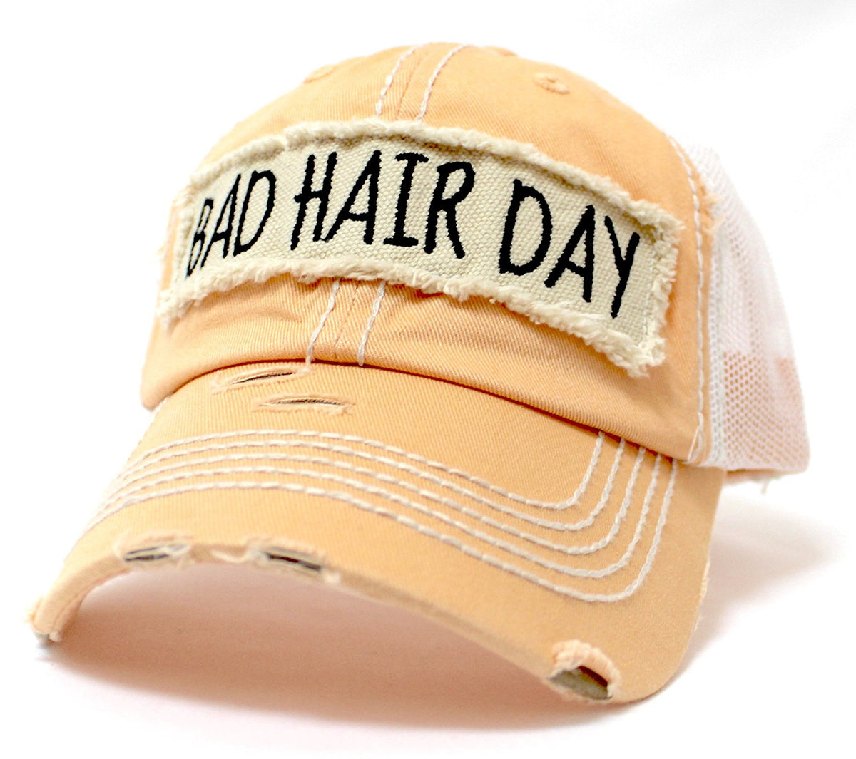 "NEW! SUMMER MESH COLLECTION: Peaches & Cream ""BAD HAIR DAY"" Vintage Trucker Hat - Caps 'N Vintage"