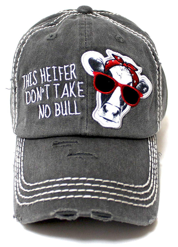 Country Humor Cap This Heifer Don't TAKE NO Bull Red Western Bandana Cow Patch Baseball Hat, Blk - Caps 'N Vintage