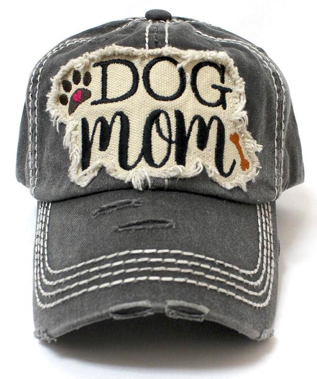 CAPS 'N VINTAGE Vintage Black Dog MOM Patch Embroidery Baseball Hat - Caps 'N Vintage