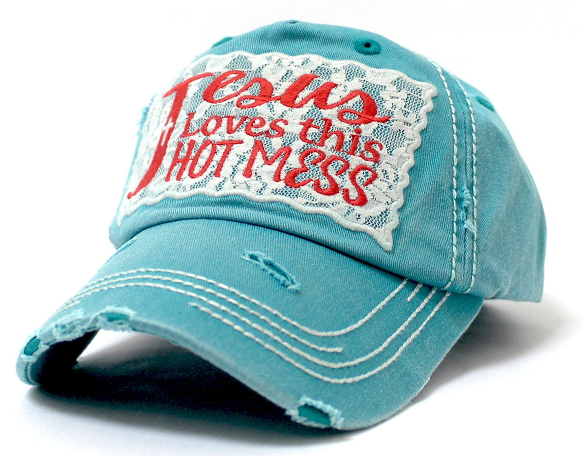 Turquoise Jesus Loves This Hot Mess Lace Embroidery Cap - Caps 'N Vintage