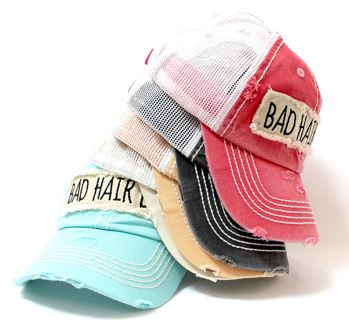 "NEW! SUMMER MESH COLLECTION: Rose-Pink ""BAD HAIR DAY"" Vintage Trucker Hat - Caps 'N Vintage"