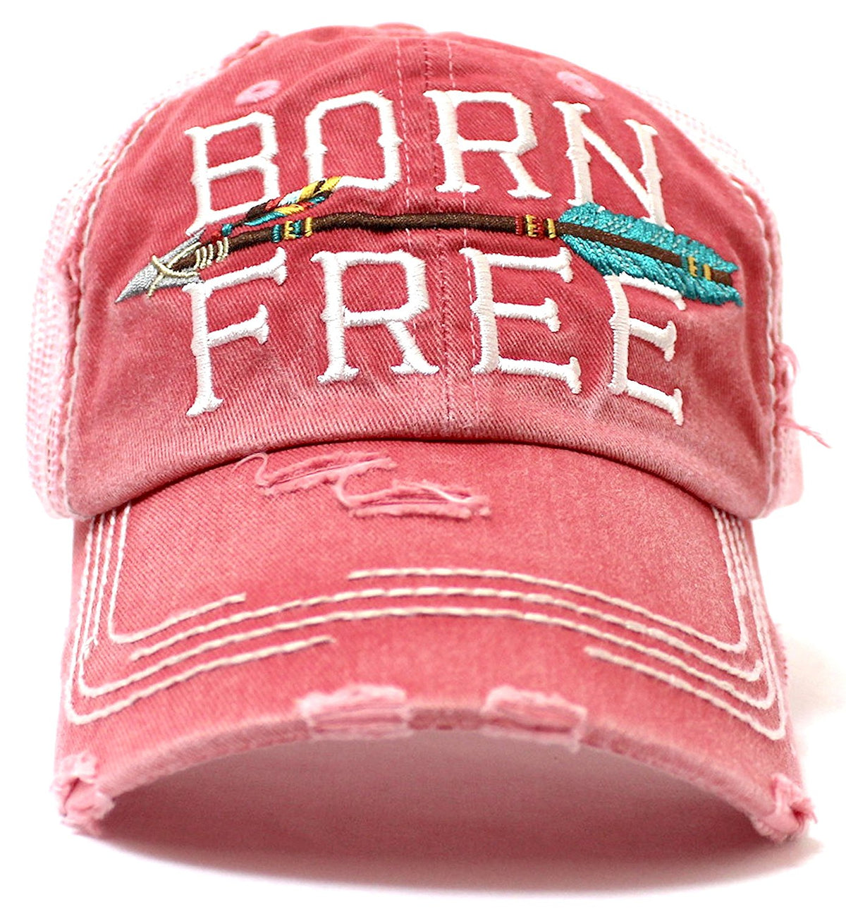 "NEW!! OCEAN SUNSET COLLECTION--ROSE-PINK ""BORN FREE"" Vintage Trucker Hat - Caps 'N Vintage"