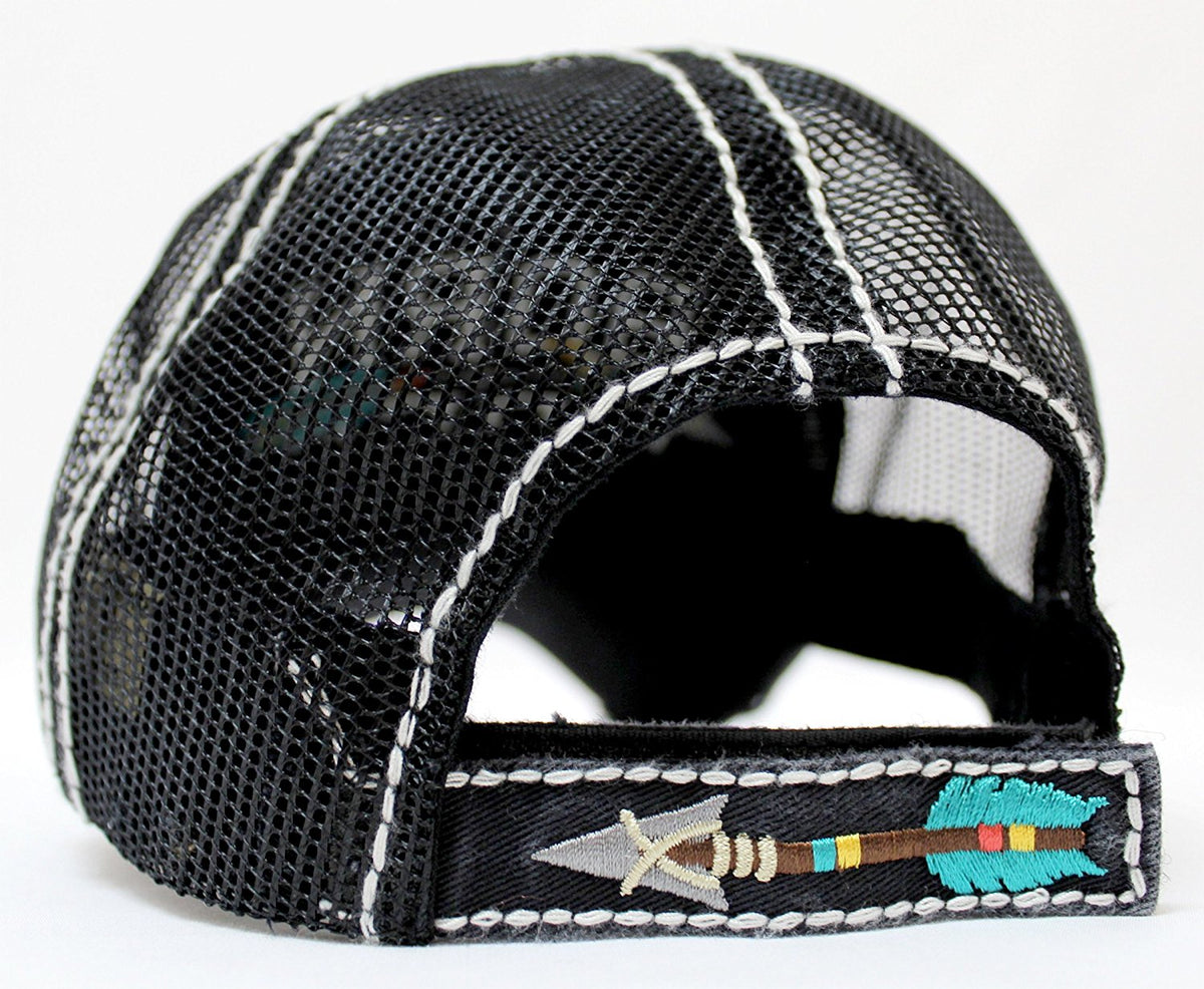 "NEW!! SUMMER MESH COLLECTION--Black ""BORN FREE"" Vintage Trucker Hat - Caps 'N Vintage"