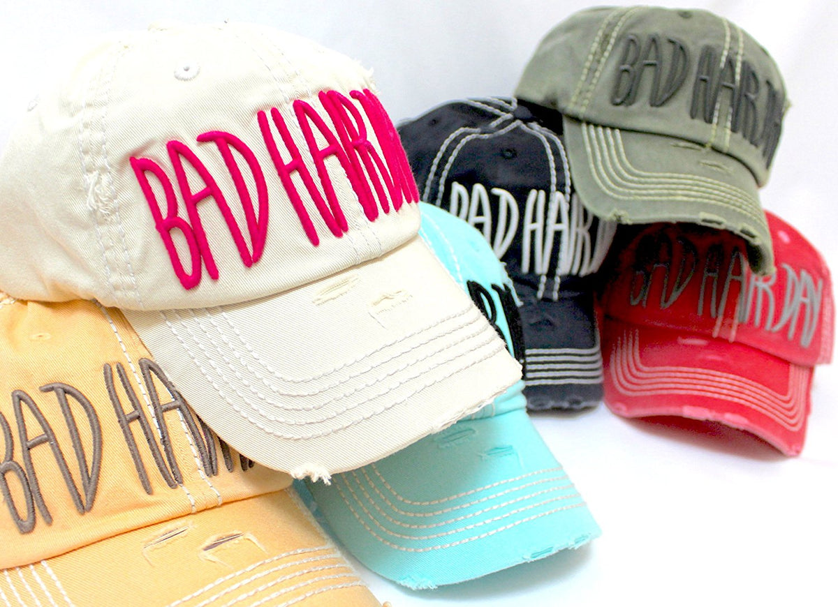 "BARBIE PINK/L.Khaki ""BAD HAIR DAY"" Embroidery Ballcap - Caps 'N Vintage"