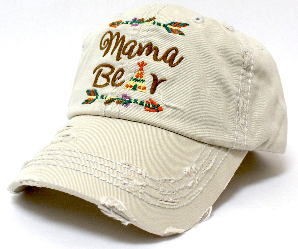"STONE ""Mama Bear"" Cap w/ Distressed Detail & Tribal Arrow Native Theme Embroidery - Caps 'N Vintage"