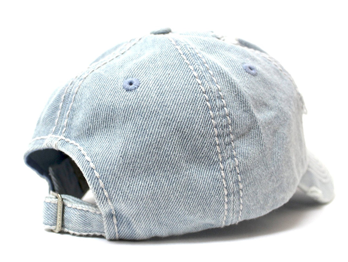 "Vintage-Denim Washed ""Happy Camper"" Patch Embroidery Baseball Cap - Caps 'N Vintage"