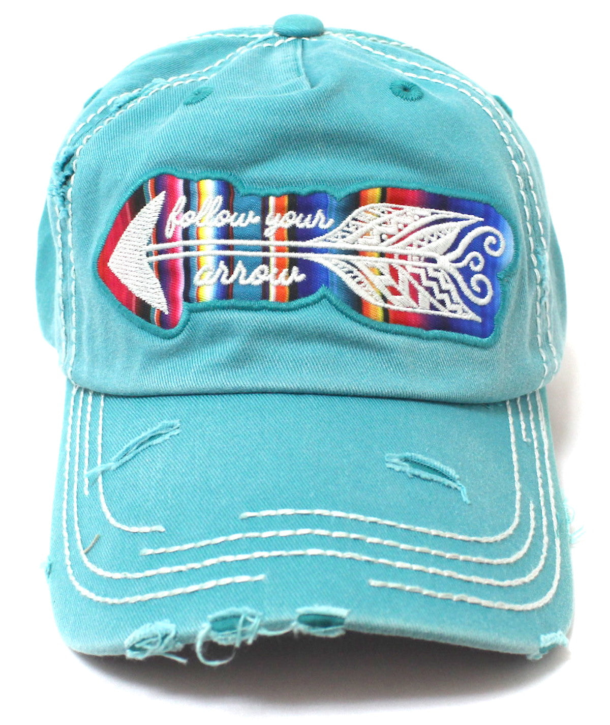 "TURQUOISE ""Follow Your Arrow"" Embroidery Patched, Serape-Color Theme Distressed Cap - Caps 'N Vintage"