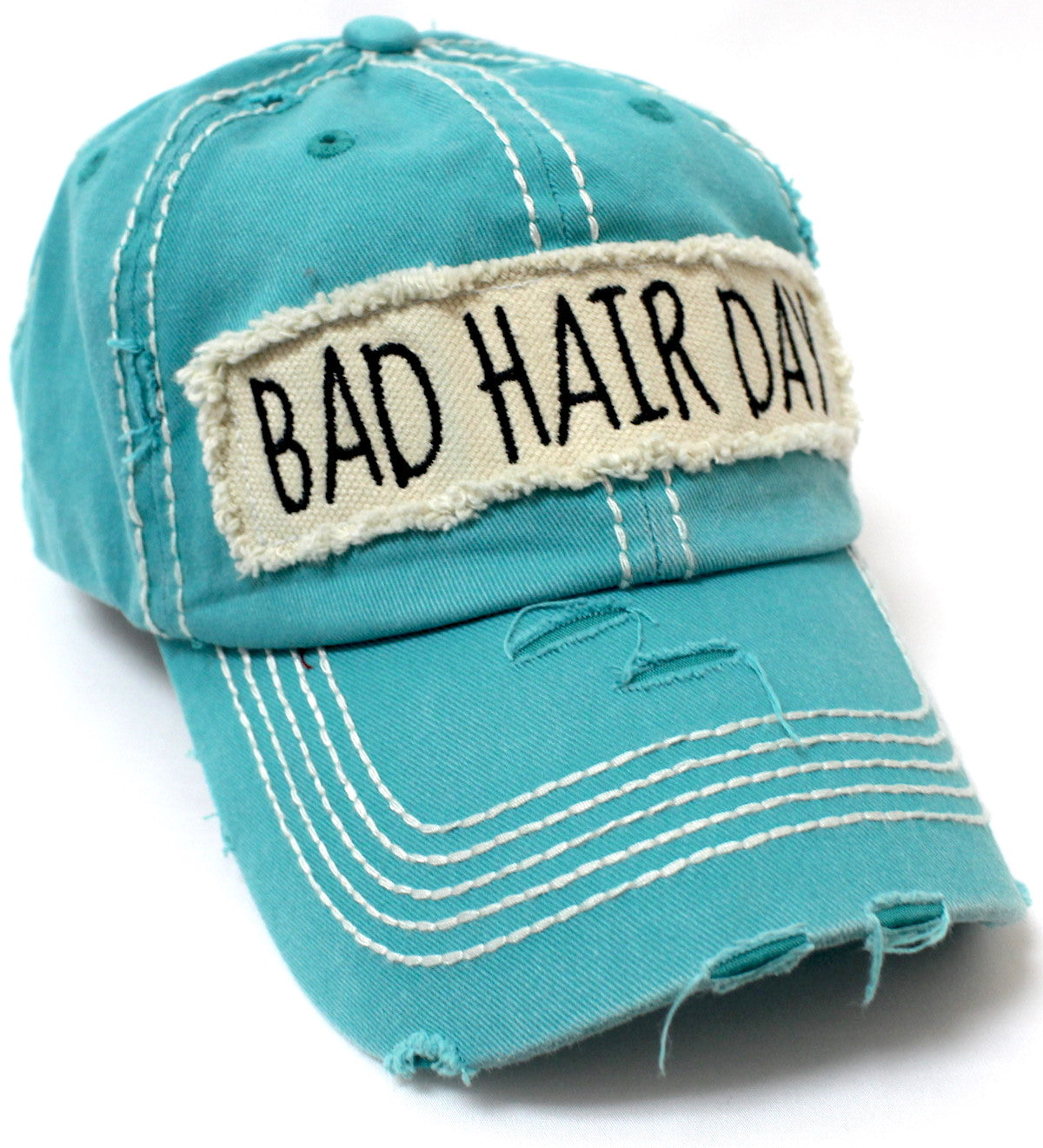 "Turquoise ""BAD HAIR DAY"" Patch Embroidery Vintage Cap - Caps 'N Vintage"