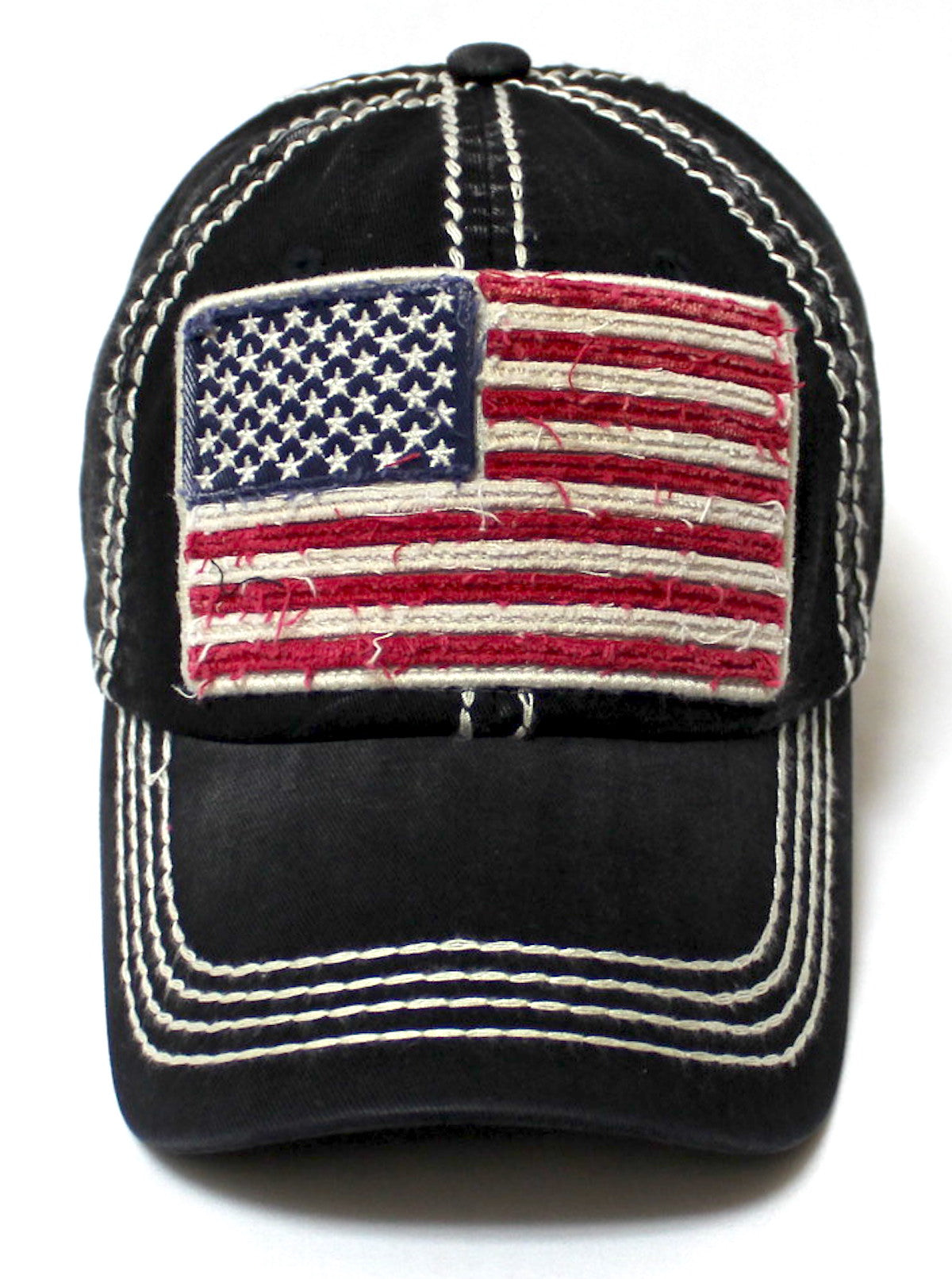 Oversized Vintage AMERICAN FLAG Patch Embroidery Baseball Cap, Black - Caps 'N Vintage