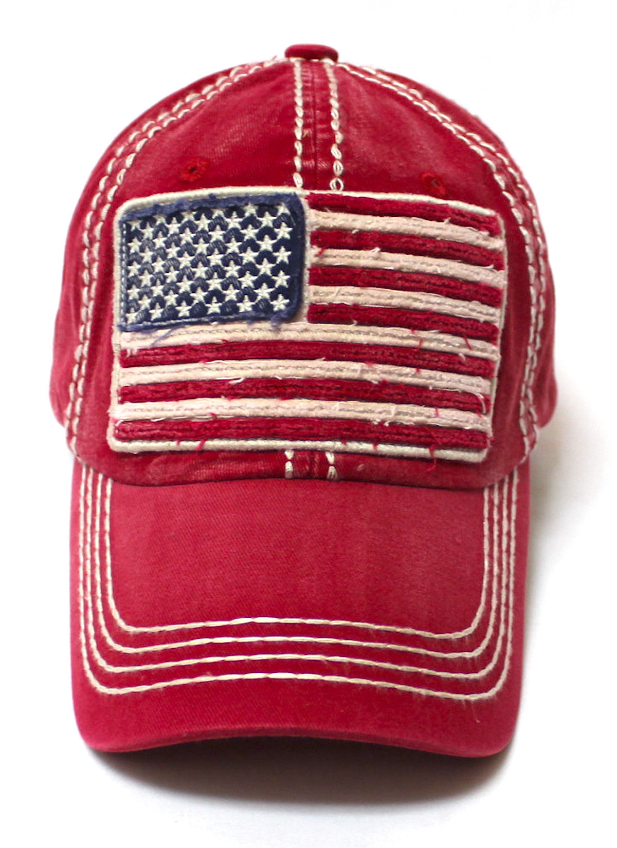 CAPS 'N VINTAGE Vintage Red Oversized American Flag Patch Embroidery Baseball Cap - Caps 'N Vintage