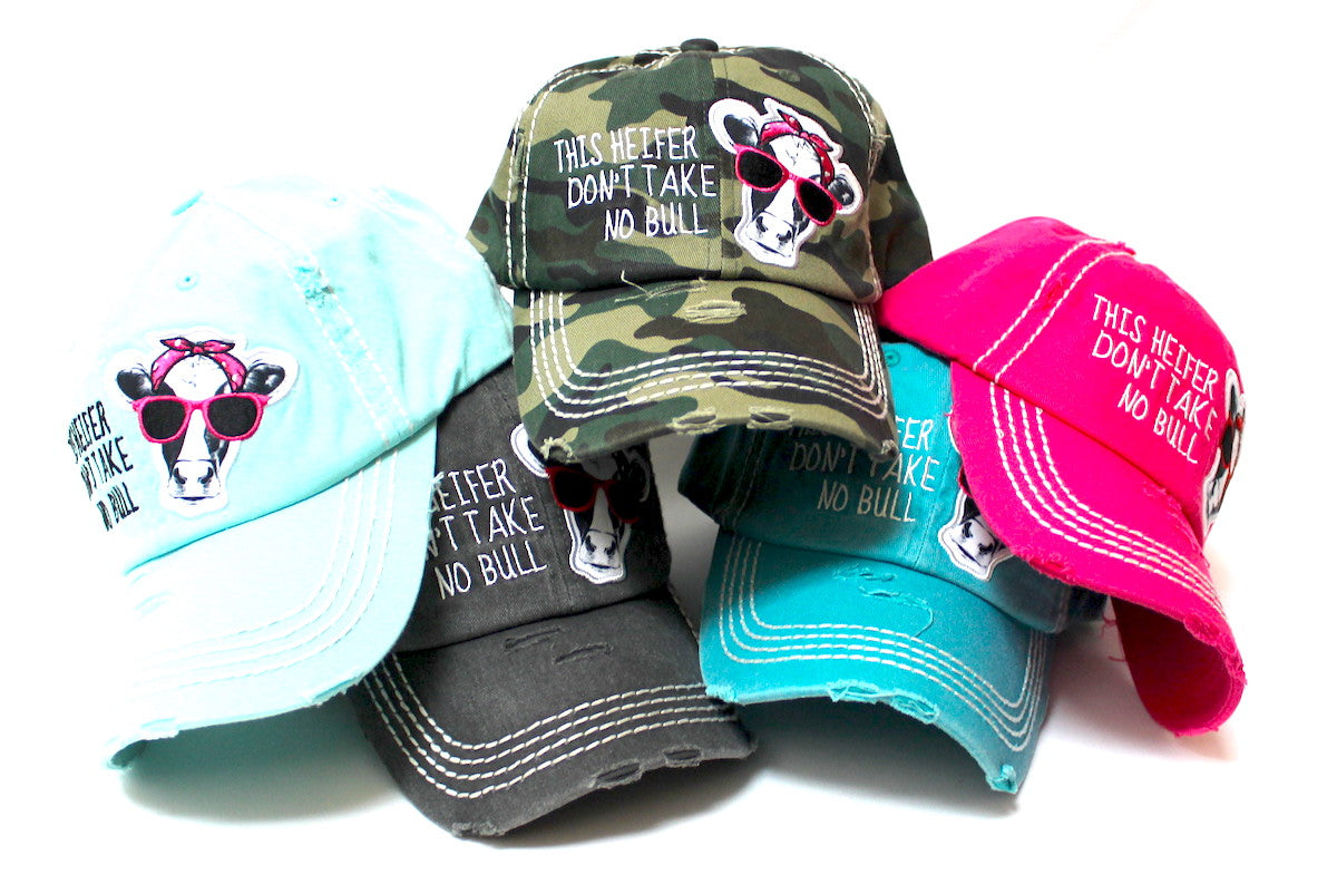 Country Humor Cap This Heifer Don't TAKE NO Bull Red Western Bandana Cow Patch Baseball Hat, Army Camoflauge - Caps 'N Vintage