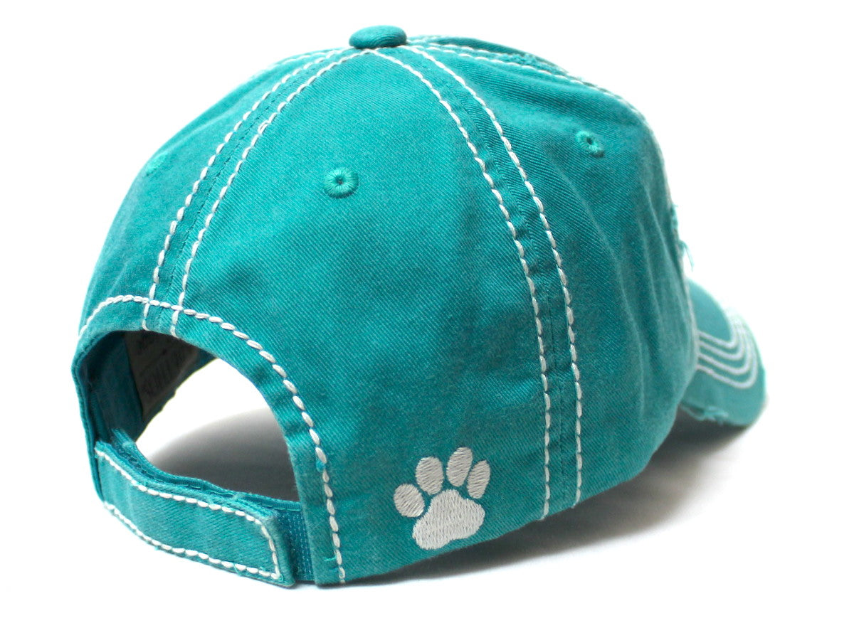 Women's Ballcap American Flag Dog Paw Patch Embroidery Hat, Jewel Turquoise