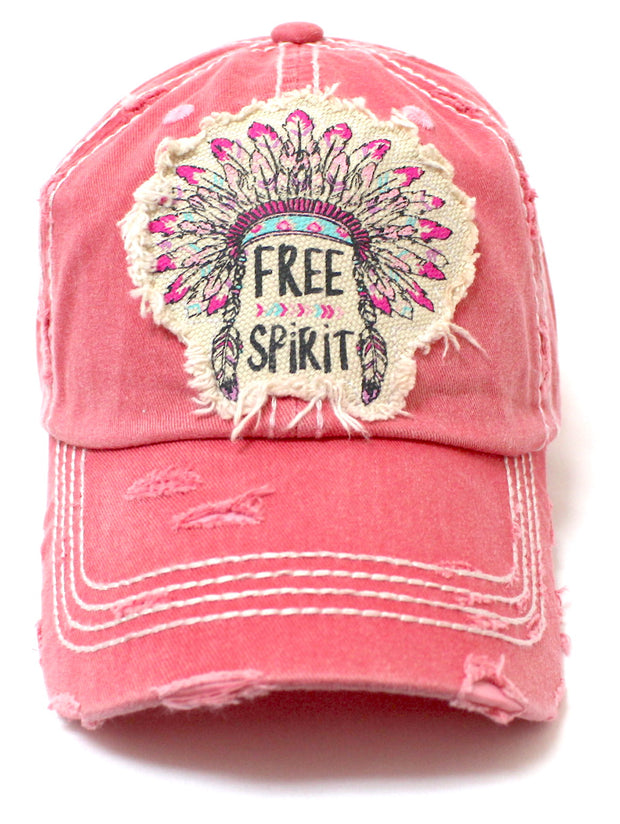 "Coral Pink ""FREE SPIRIT"" CHIEF HEADDRESS Patchwork Vintage Baseball Hat - Caps 'N Vintage"