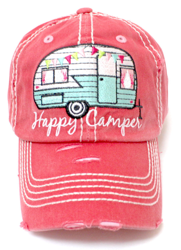 "Rose Pink ""Happy Camper"" Distressed Embroidery Hat - Caps 'N Vintage"