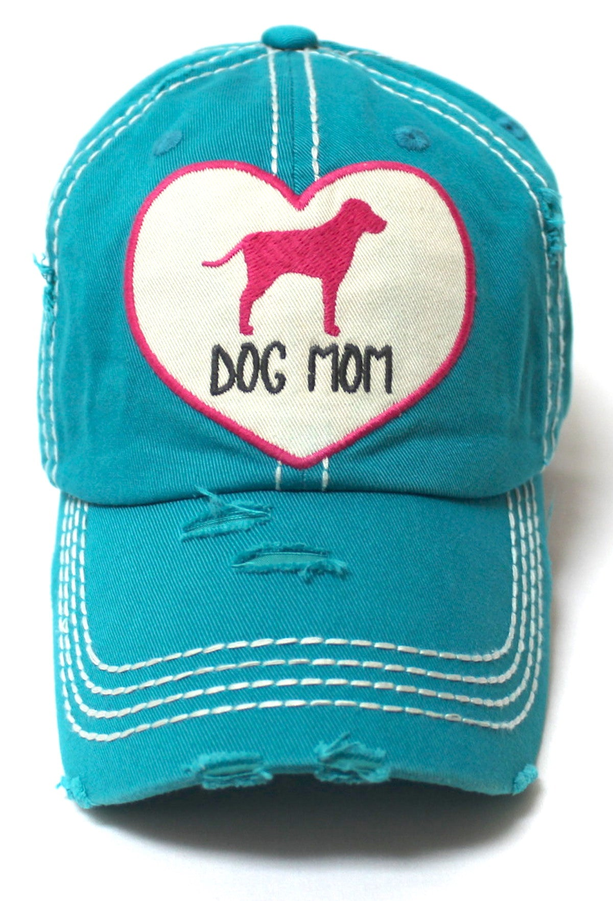 Women's Love Pink Cap Dog MOM Heart Patch Embroidery, Turquoise - Caps 'N Vintage
