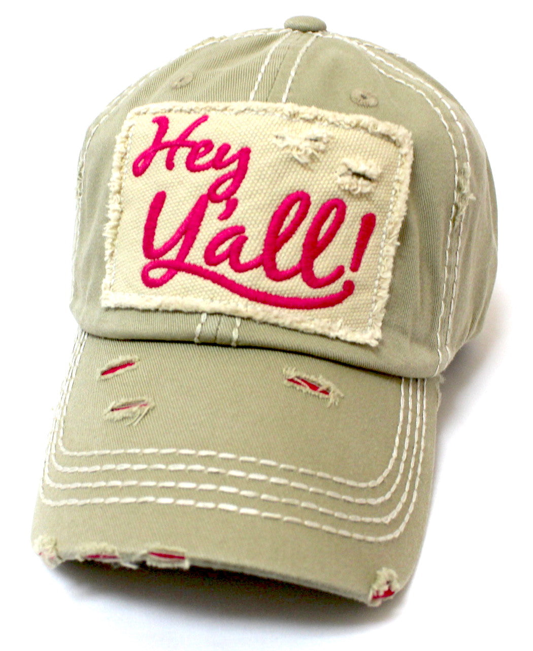 CAPS 'N VINTAGE New!! Khaki/Barbie Pink Hey Y'all! Patch Embroidery Hat - Caps 'N Vintage