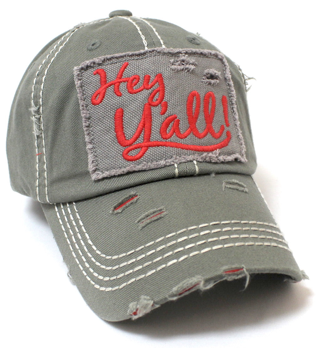 "New!! MOSS ""Hey Y'all!"" Patch Embroidery Cap w/ Contrast Stitching & Distressed Details - Caps 'N Vintage"