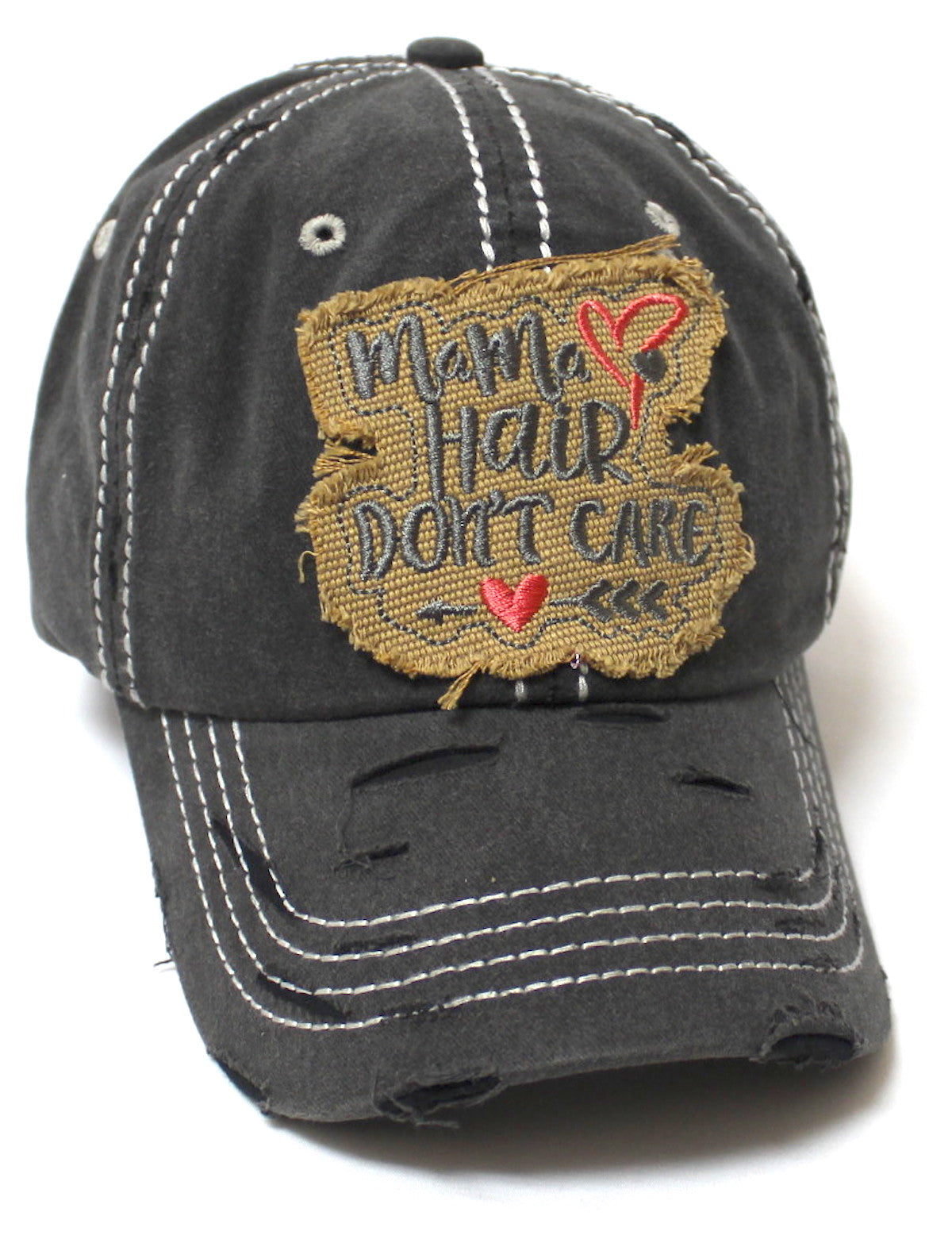 Mama Hair Don't Care Hearts & Arrow Monogram Patch Embroidery Adjustable Hat, Vintage Black - Caps 'N Vintage