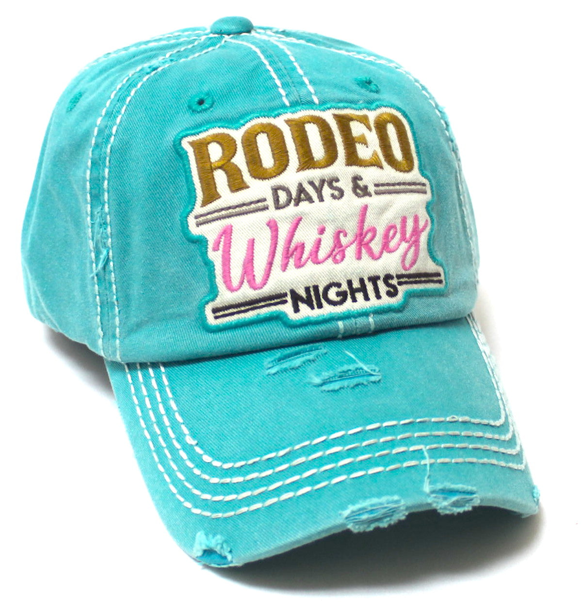 Rodeo Days Whiskey Nights Baseball Cap - Distressed Hats for Women - Summer Style Accessory in California Blue - Caps 'N Vintage
