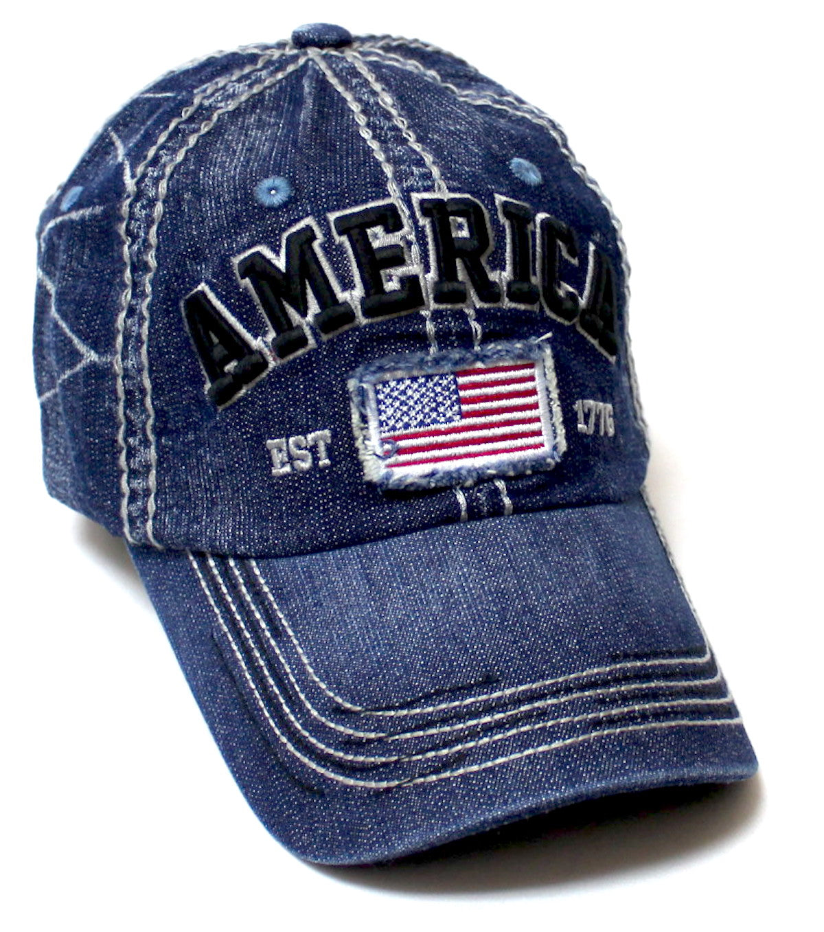 USA Vintage Baseball Cap America Est. 1776 in Denim, Turquoise & Navy Blue